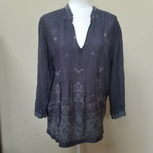 Johnny Was Charcoal Gray Embroidered Boho Blouse